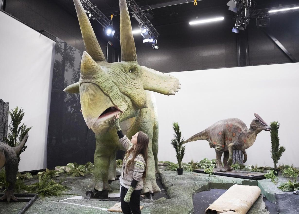 Näyttelyn asiantuntijana ollut Maija Karala taputtelee Triceratopsia. Kuva: Aku Isotalo
