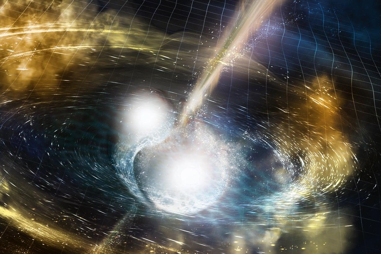 Kun kaksi neutronitähteä sulautuu, avaruus ympärillä vääristyy. Syntyy painovoima-aaltoja, jotka leviävät joka suuntaan valon nopeudella. Uudet, äärimmäisen herkät laitteet voivat tunnistaa nämä väreet. Kuva: Ligo/Sonoma State University
