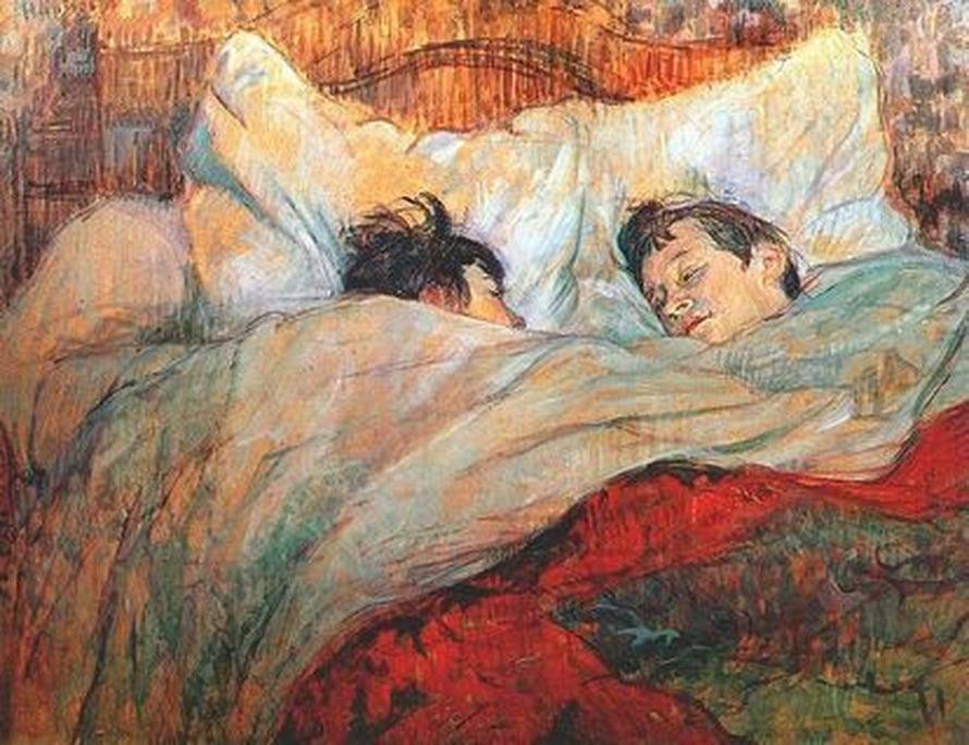 """Brittitutkijoiden mukaan tapa nukkua yhdessä syntyi tilanpuutteesta. Esimerkiksi Britanniassa puolisot kömpivat samaan sänkyyn vasta teollisen vallankumouksen myötä, kun ihmiset muuttivat kaupunkien ahtaisiin asuntoihin. Kuva: <span class=""""photographer"""">Henri de Toulouse-Lautr</span>"""