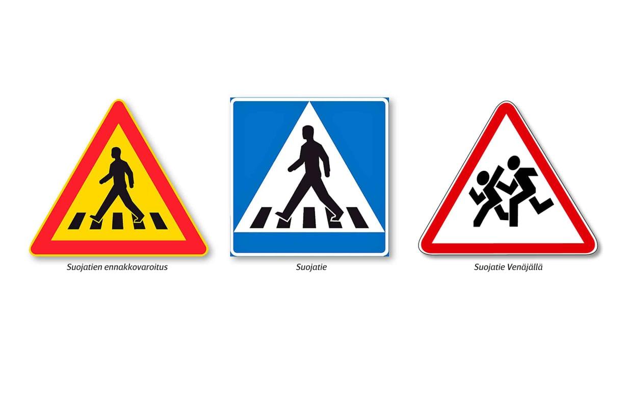 Suomalaisissa suojatiemerkeissä askeltaa rauhallisen oloinen kävelijä. Tutkimusten mukaan  ylitys juosten havahduttaisi autoilijat paremmin.  Kuvat: Liikennevirasto ja Michiganin yliopisto