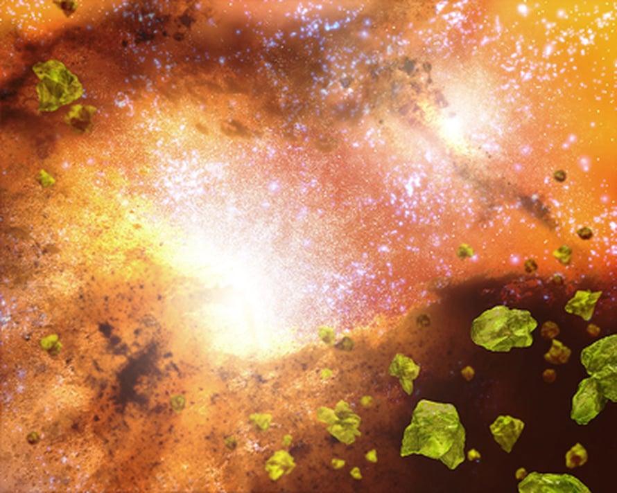 Taiteilijan näkemys lasinsirujen ympäröimistä galaksien ytimissä (NASA/JPL-Caltech/T. Pyle).