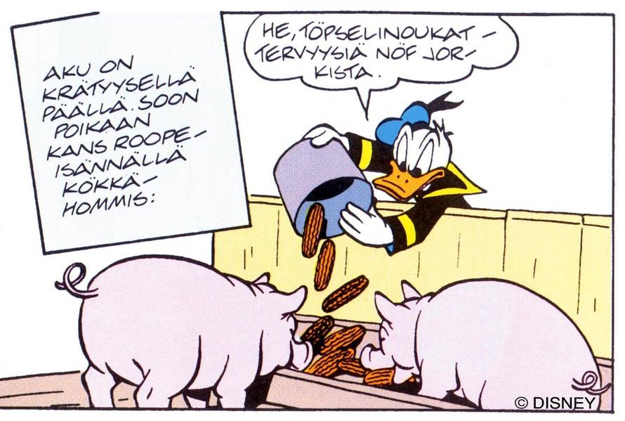 """Aivot piristyvät murteista. Tässä Akua Etelä-Pohjanmaan murteella. Kuva: <span class=""""photographer"""">Walt Disney</span>"""