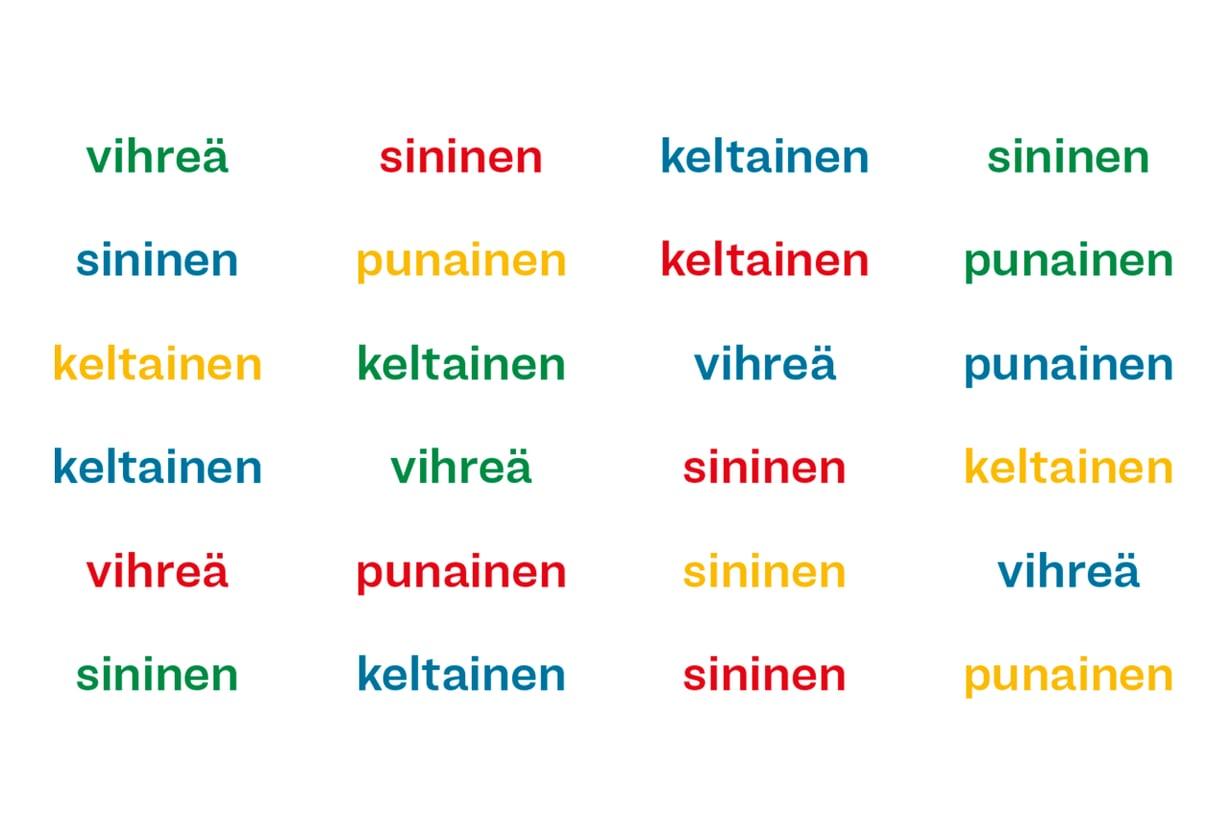 Tehtävänä on sanoa väri, jolla sana on kirjoitettu.