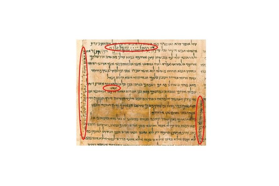 Näkyy rivien välistä. Käsikirjoitusten kopioijat merkitsivät uusia tulkintoja rivien väleihin ja marginaaleihin. Seuraavalla jäljentämiskierroksella huomautukset siirtyivät osaksi virallista tekstiä.