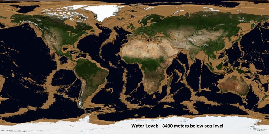 """Mannerjalustat ovat jo paljastuneet animaatiossa, kun meriveden pinta on vajonnut lähes 3 500 metriin. Kuva: <span class=""""photographer"""">James O'Donoghue</span>"""