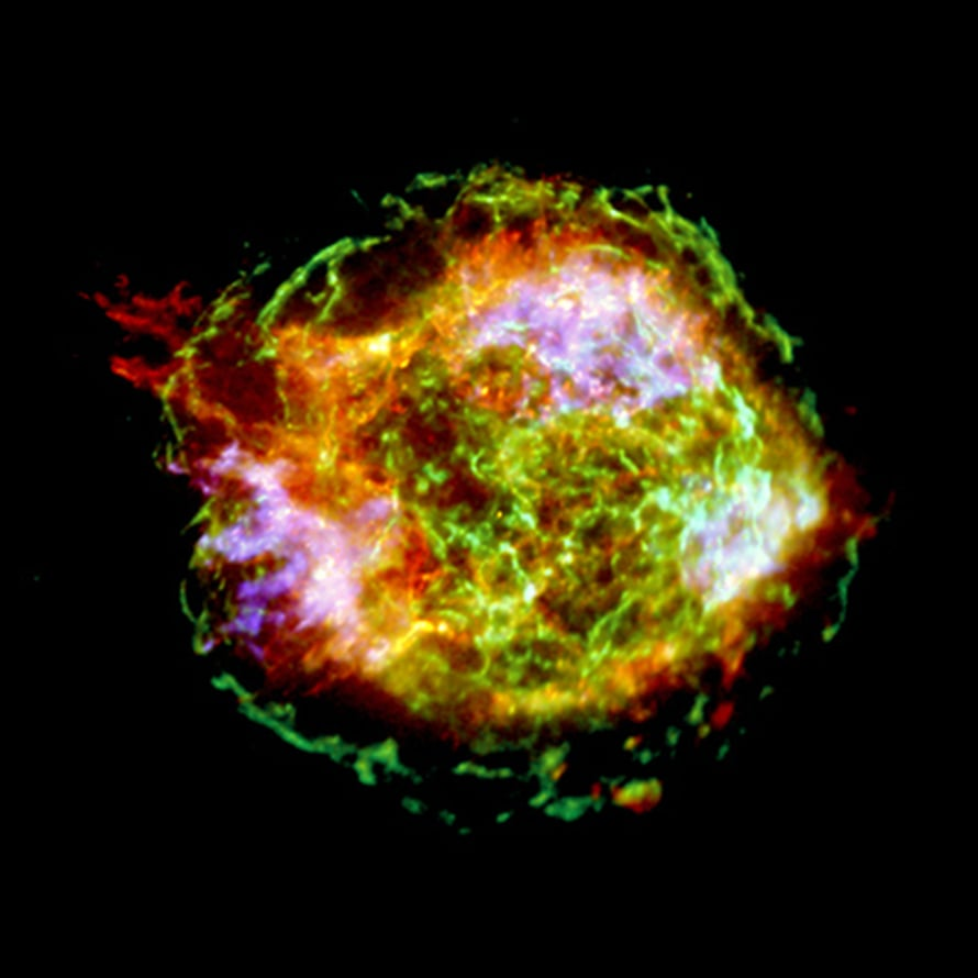 "Supernova Cas A. Kuva:  <span class=""photographer"">NASA/CXC/GSFC/U. Hwang et al.</span>"