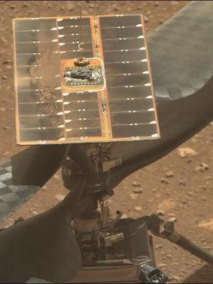 """Ingenuityn Marsin pinnalla kuvasi Perseverance-mönkijä. Kuva: <span class=""""photographer"""">Nasa</span>"""