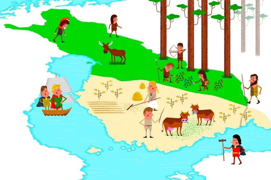 Jako tapahtui varhain. Vanhan käsityksen mukaan itä ja länsi erkaantuivat vasta keskiajan lopulla sisäisen siirtolaisuuden seurauksena. Nyt tutkimus sanoo, että jako tapahtui jo kivikaudella ulkoisen muuttoliikkeen myötä.