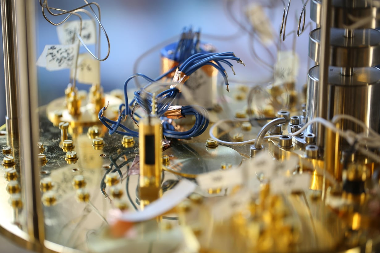 Kvanttitietokoneen ytimessä oleva prosessori jäähdytetään lähelle absoluuttista nollapistettä. Kuva: Mikko Raskinen / Aalto-yliopisto