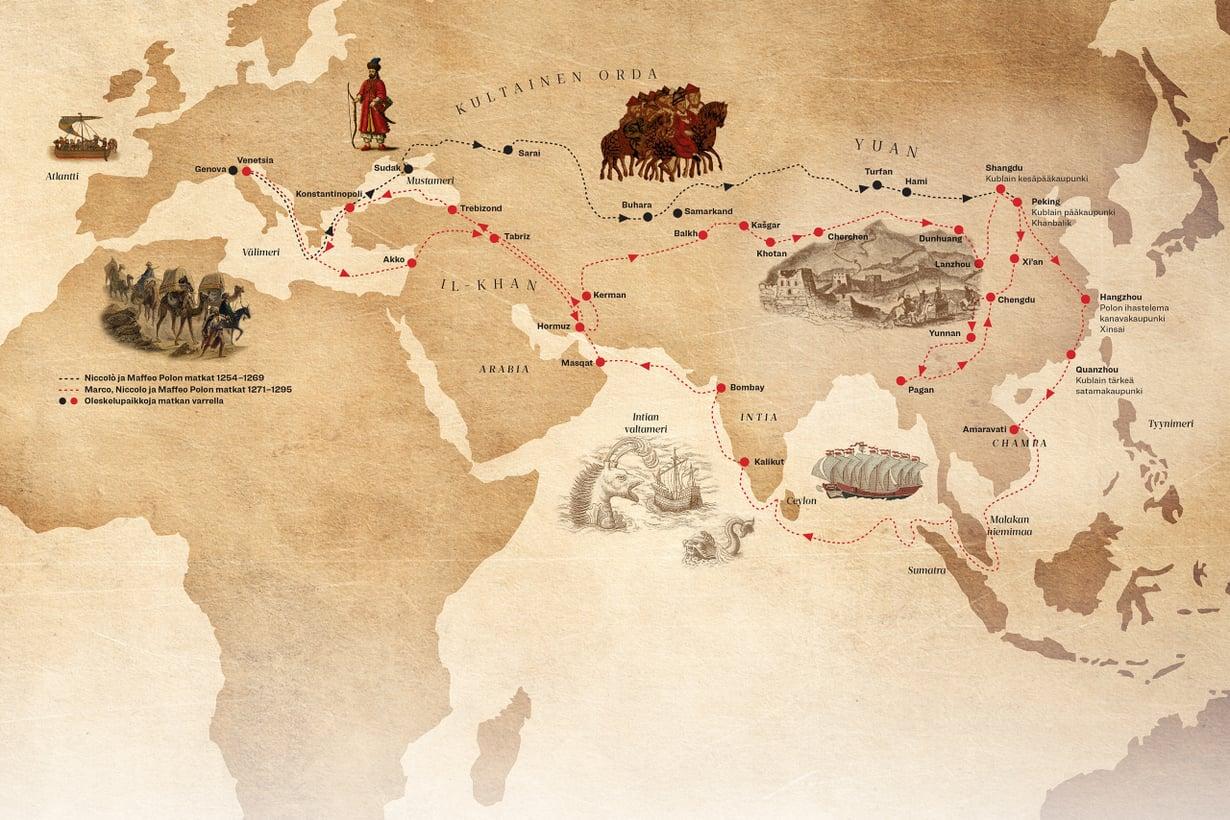 Polojen reitti kulki halki valtavan mongoli-imperiumin. Kublai-kaanin kuoltua 1294 alkoivat valtariidat ja liikenne vanhoilla kauppateillä kuihtui. Kuvat: Getty Images. Grafiikka Petri Rotsten/Tiede