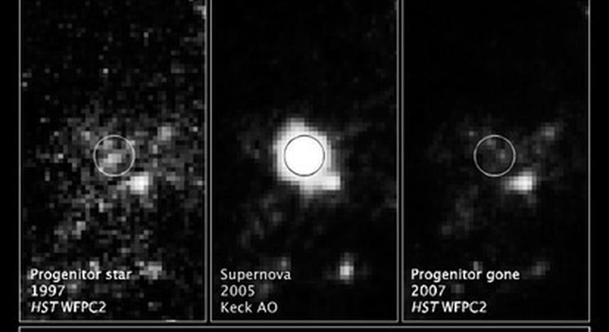 """Vasemmalla supernovana räjähtänyt tähti kuvattuna vuonna 1997 ja keskellä itse räjähdys 11.11.2005. Oikeanpuoleinen kuva vuodelta 2007 paljastaa tähden kadonneen. Kuva: <span class=""""photographer"""">Nasa, Esa ja A. Gal-Yam (Weizmann Institute of Science)</span>"""