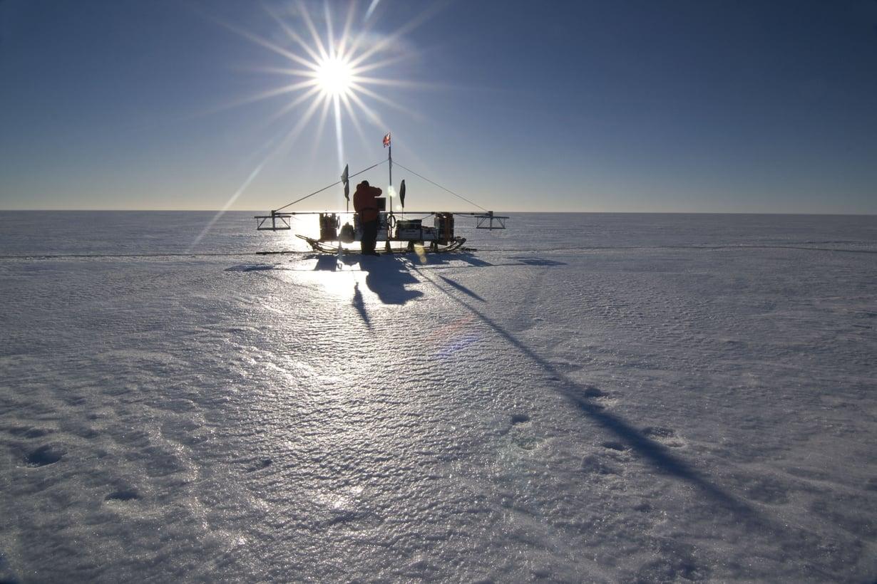 Tutkakelkka Larsen C -jäähyllyllä. Kuva: British Arctic Survey