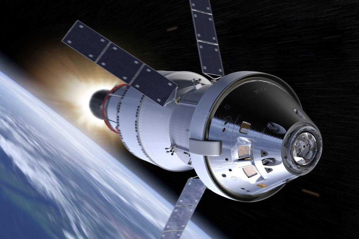 Nasan uusi miehistöalus Orion muistuttaa Apolloa mutta on sitä suurempi. Kuva: Nasa