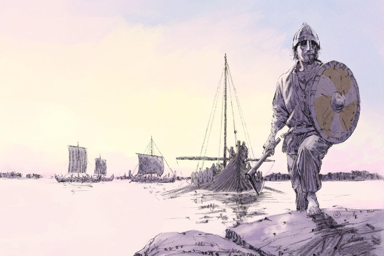 Viikinkien ledung-armeijaan kuului jopa muutamia tuhansia miehiä. Kuvitus: Ossi Hiekkala