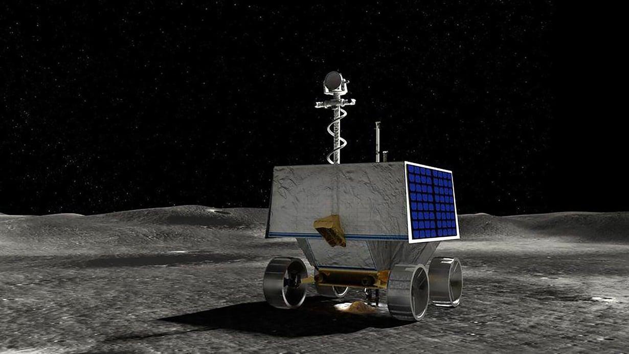 Viper-mönkijän päätehtävä on etsiä vesijäätä Kuun etelänavan alueelta. Kuva: Nasa