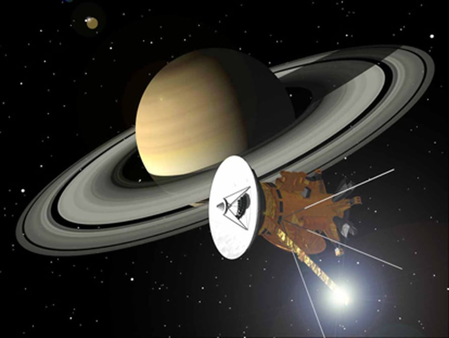 """Cassini-Huygens-luotain lähestyy Saturnusta. Taiteilijan näkemys. Kuva: <span class=""""photographer"""">Nasa</span>"""