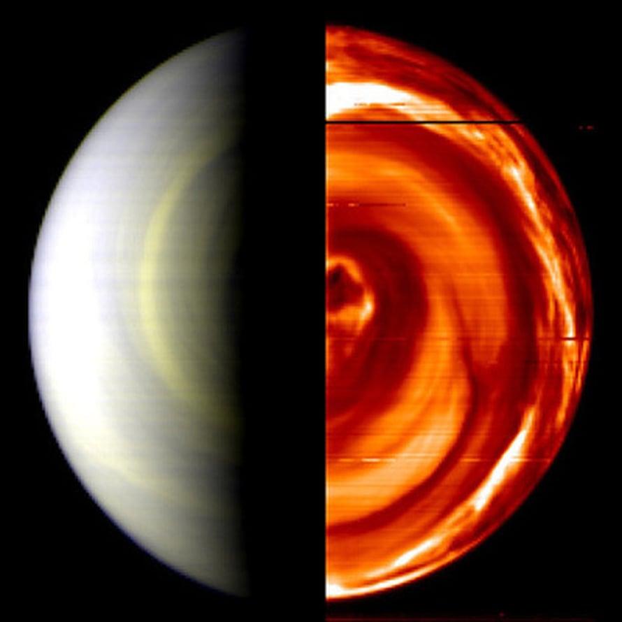 """Jo yli vuoden Venusta kiertänyt Venus Express nappasi tutkimusmatkansa alussa ensimmäisen kuvan Venuksen etelänavalta. Kuva: <span class=""""photographer"""">ESA/CNR-IASF, Italy and Observatoire de Paris, France</span>"""