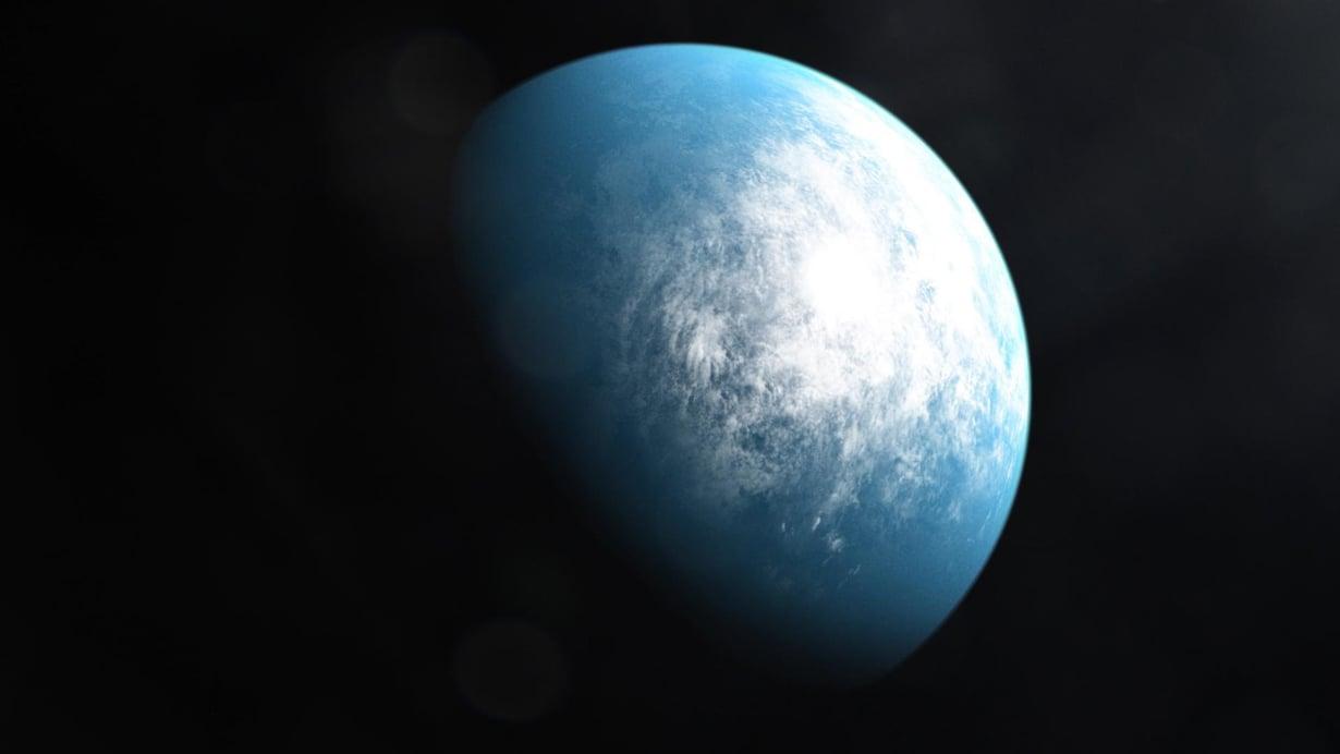Sadan valovuoden päässä saattaa olla veden peittämä planeetta. Taiteilijan näkemys eksoplaneetasta, jonka todellinen olemus voi paljastua uusissa tutkimuksissa. Kuva: Nasa