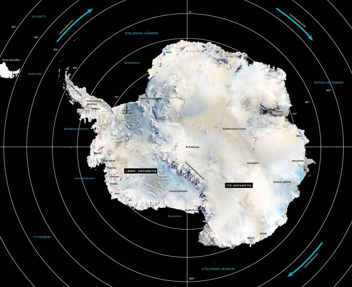 Antarktis on ollut jäässä 14 miljoonaa vuotta. Mikä on tilanne mantereen eri osissa nyt, selviää artikkelin oheisjutusta Jääjätti menettää massaansa. Kuva: Nasa