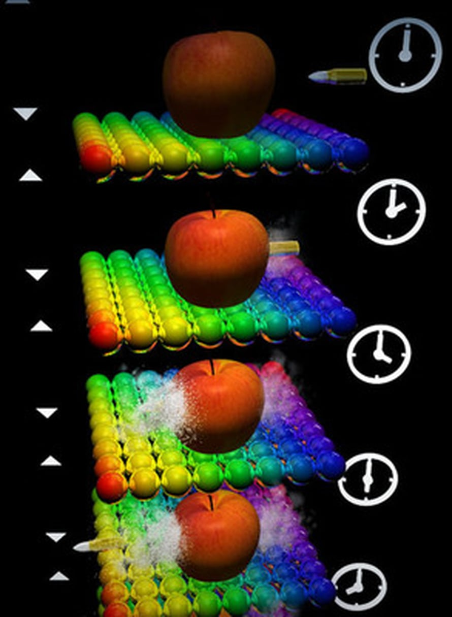 """Äärimmäiseln nopealla videokameralla voi kuvata esimerkiksi luodin matkaa omenan läpi. Kuva: <span class=""""photographer"""">T.Sato</span>"""