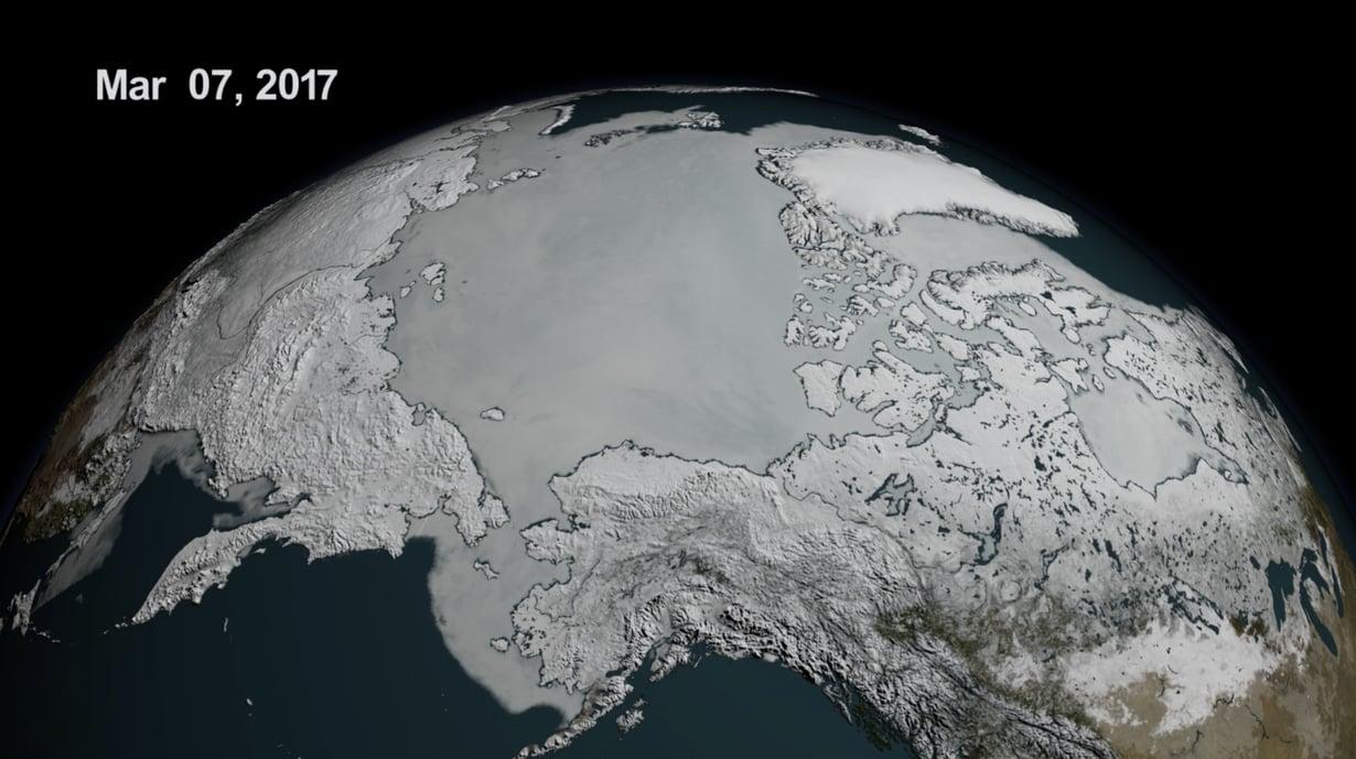 Pohjoisen merialueen jäämaksimi oli mittaushistorian pienin maaliskuun 7. päivänä. Kuva: NASA Goddard's Scientific Visualization Studio/L. Perkins