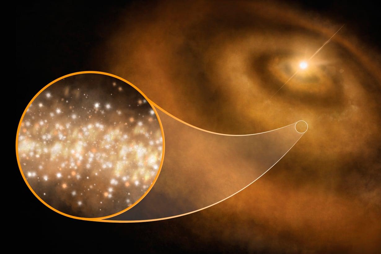 Timantit ympäröivät tähtiä kuin pilvet. Kuva: S.Dagnello, NRAO/AUI/NSF