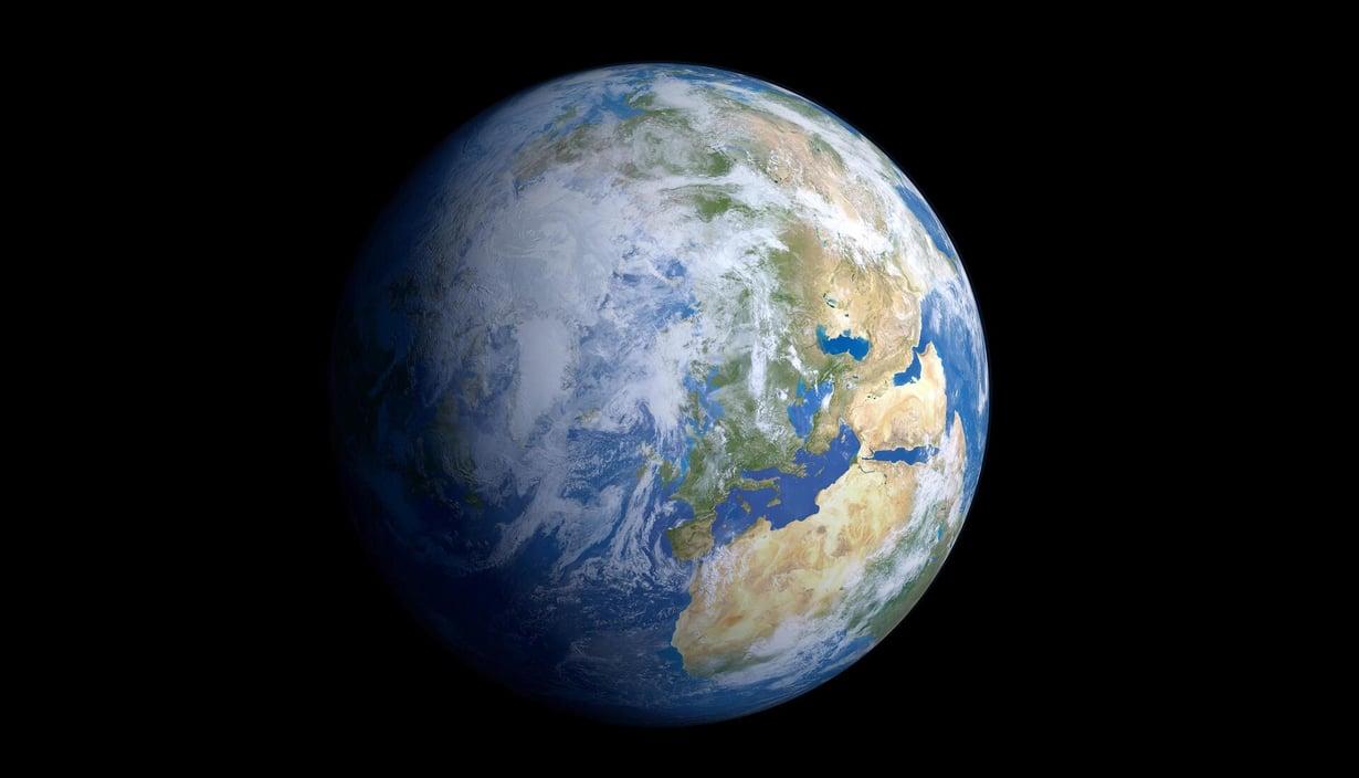Maantieteellinen pohjoisnapa on alkanut liikkua hitaasti. Kuvittajan näkemys maapallosta avaruudesta katsottuna. Kuva: SCIENCE PHOTO LIBRARY