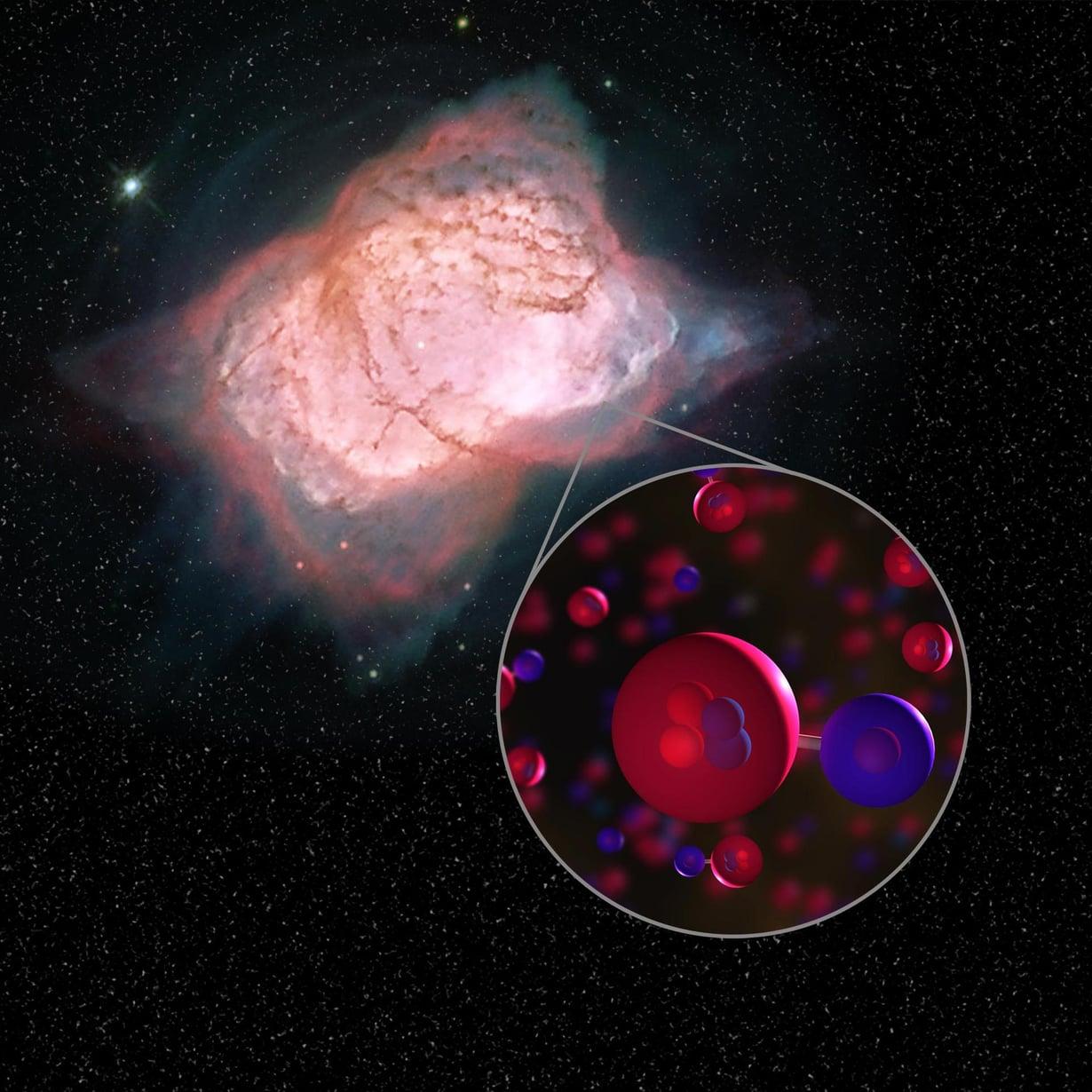 Planetaarinen tähtisumu NGC 7027 sisältää heliumhydridiä, joka koostuu heliumatomista ja vetyatomista. Kuva: Nasa
