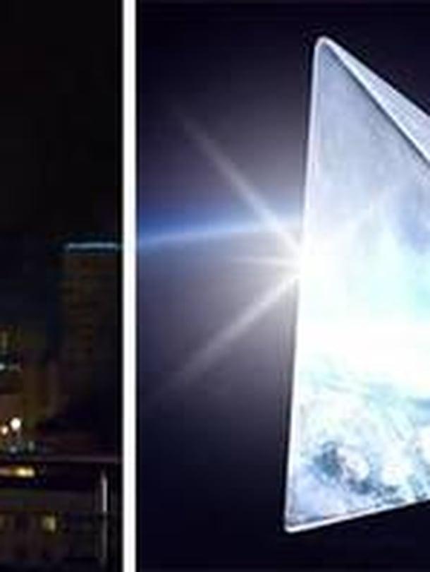 """Pyramidin muotoinen """"tähti"""" olisi yötaivaan kirkkain kohde, laskevat moskovalaiset insinöörit. Kuva: Mayak-hanke"""