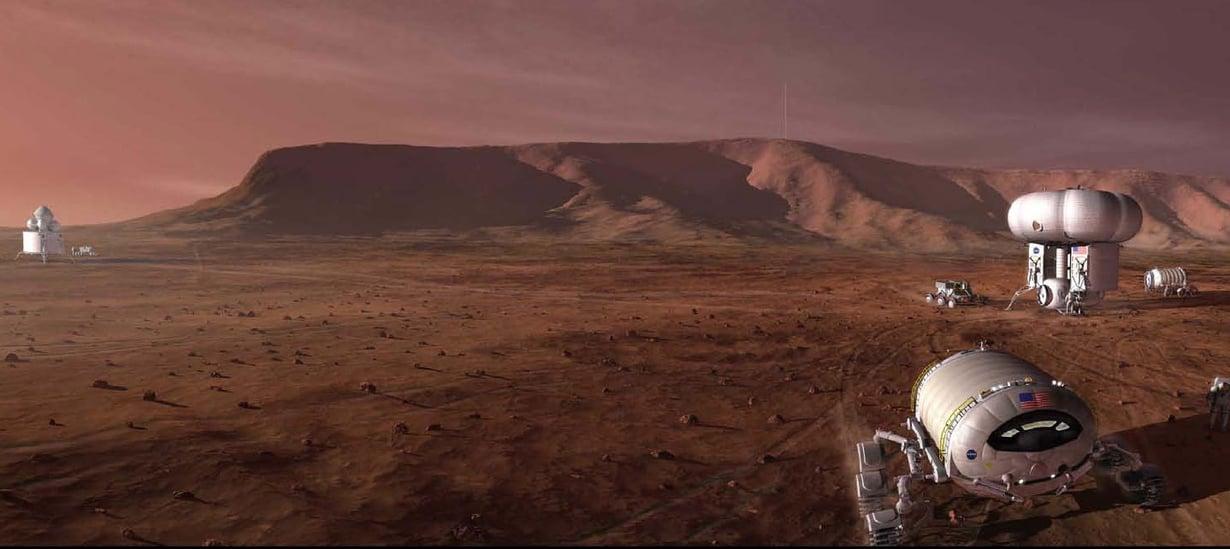 Tältä ehkä näyttää tuleva Marsin-miehitys. Kuva: Nasa