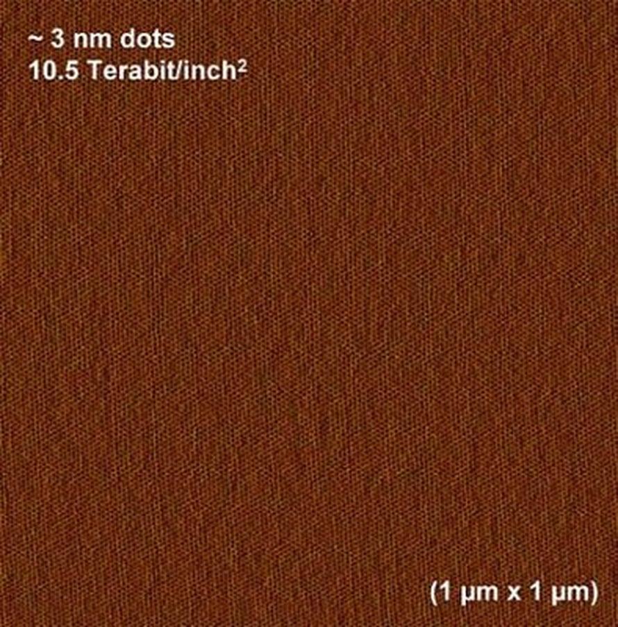 Atomivoimamikroskooppikuva järjestäytyneistä nanoelementeistä, joita voi käyttää muistina. Kuvan leveys noin mikrometri. (Soojin Park/UMass Amherst)