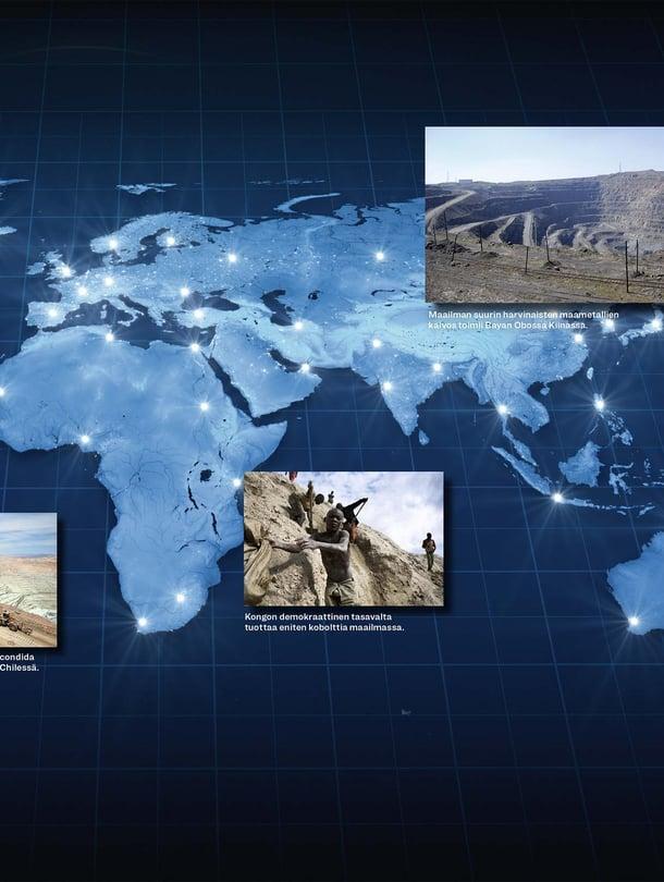 1. Mountain Pass Kaliforniassa on Yhdysvaltain ainoa harvinaisten maametallien kaivos. 2. Maailman suurin kuparikaivos Escondida sijaitsee Atacaman autiomaassa Chilessä. 3. Kongon demokraattinen tasavalta tuottaa eniten kobolttia maailmassa. 4. Maailman suurin harvinaisten maametallien kaivos toimii Bayan Obossa Kiinassa. Kuvat: Getty Images ja Lehtikuva