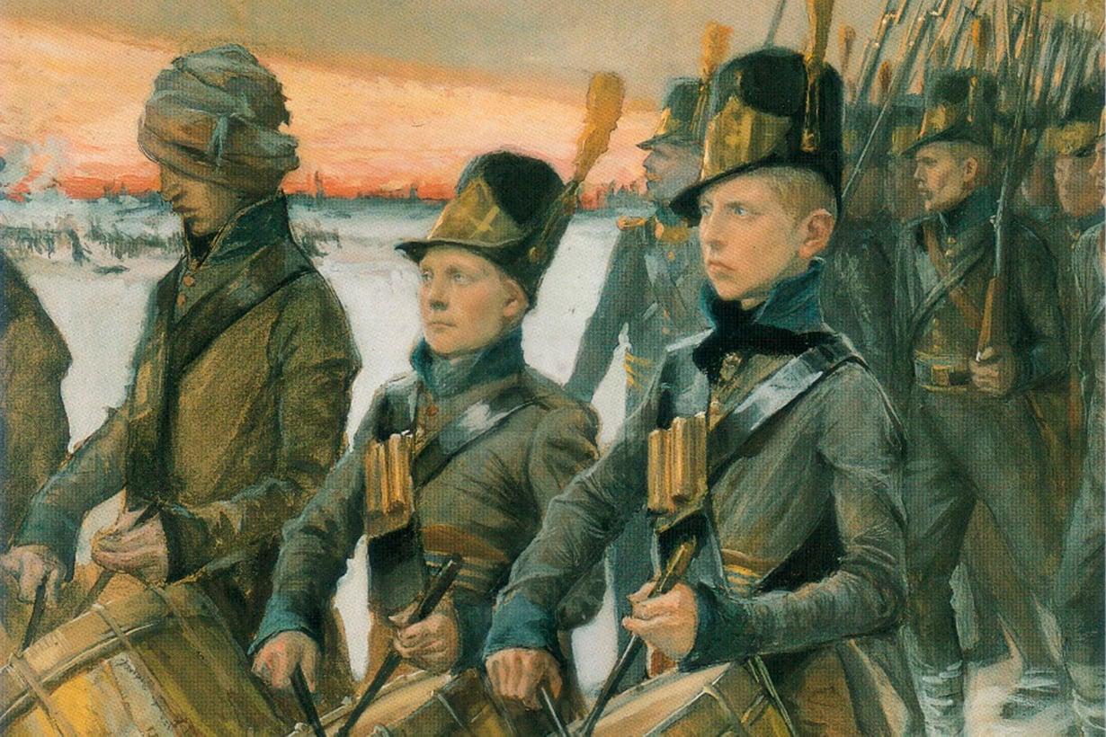 Suomen sodan aikaan sotilaita yksilöivät vielä ruotsinkieliset nimet. Maalaus Albert Edelfelt, kuva: Wikimedia Commons