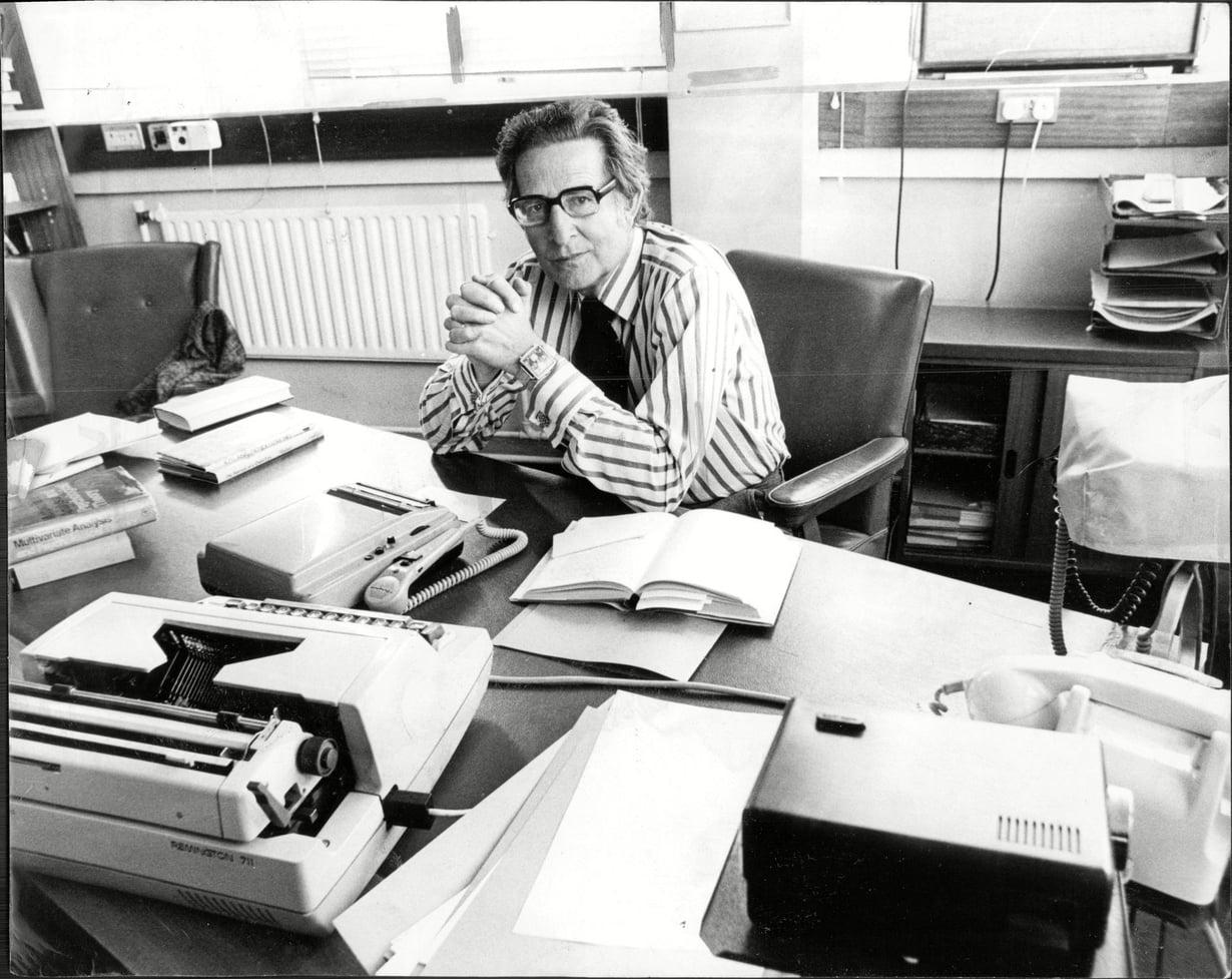 Professori Hans Eysenck (1916–1997) kuvattuna vuonna 1977. Kuva: Nick Rogers/ANL/Shutterstock