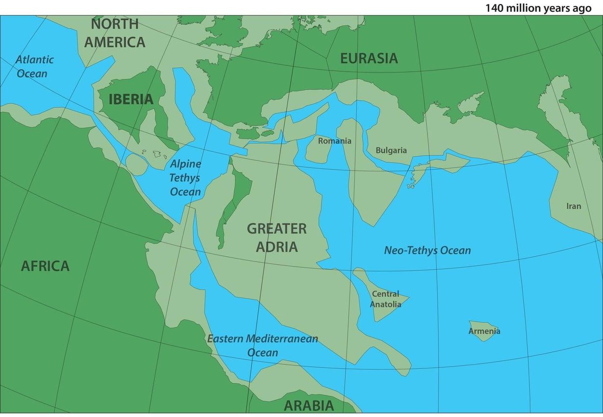 Välimerenalueen laattapalapeli näytti tältä 140 miljoonaa vuotta sitten. Suur-Adria (Greater Adria) näkyy keskellä. Kuva: Utrechtin yliopisto