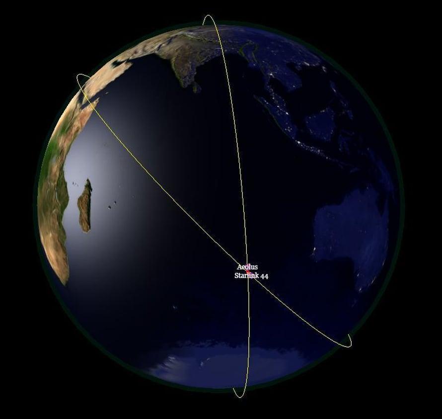 """Euroopan avaruusjärjestön Aeolus ja SpaceX:n Starlink 44 olisivat voineet kolaroida Intian valtameren päällä. Kuva: <span class=""""photographer"""">Esa</span>"""
