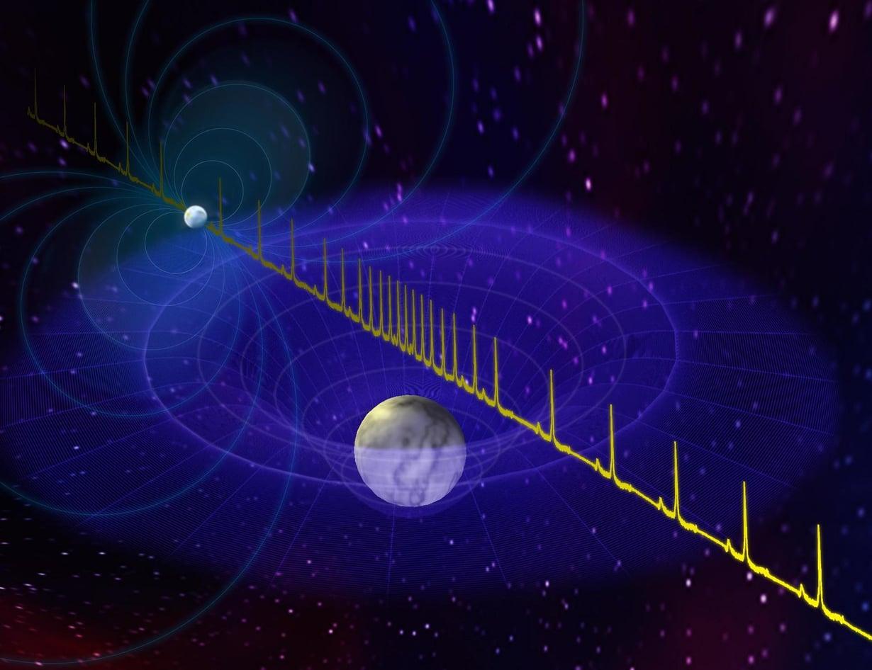 Taiteilijan näkemys neutronitähden lähettämästä pulssista, joita valkoinen kääpiö hidastaa. Kuva: NRAO/AUI/NSF