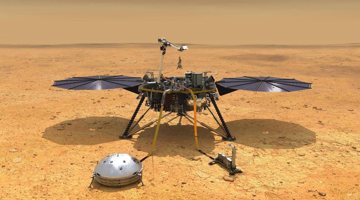 Insight laskeutuu Marsiin maanantai-iltana Suomen aikaa. Kuva: Credit: NASA/JPL-Caltech
