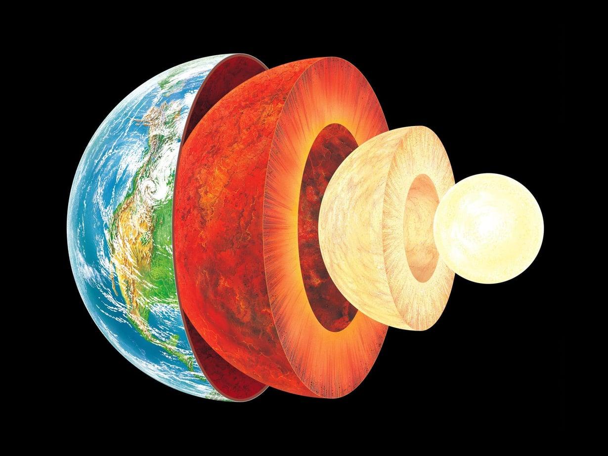 Maan koostumus. Pinnan maankuori ulottuu keskimäärin 35 kilometriin. Sitä seuraavat vaippa ja ulompi ydin. Sisempi ydin on tässä kuvauksessa vielä rautainen ja nikkelinen.