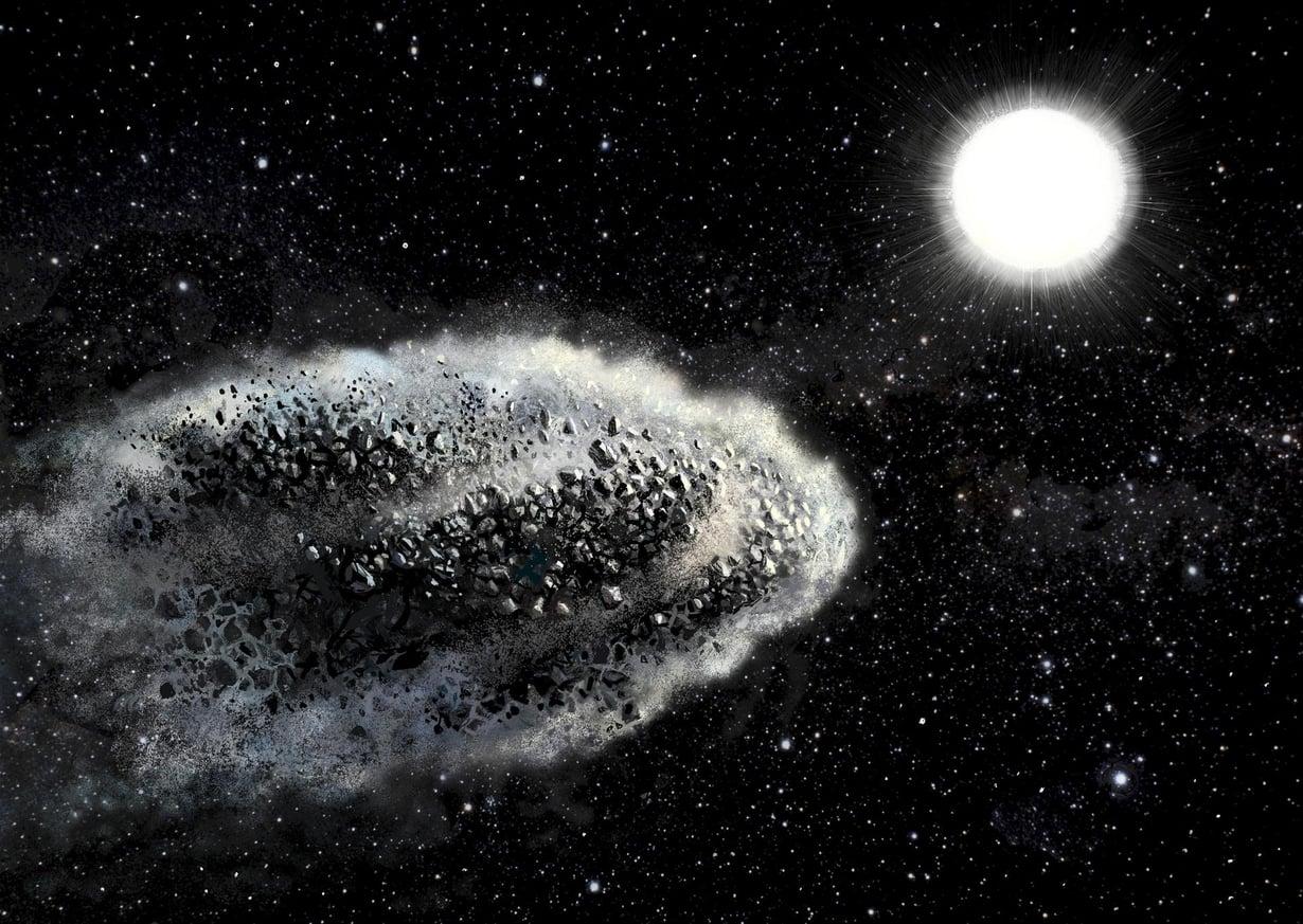 Taiteilijan näkemys asteroidin täydellisestä tuhoutumisesta Auringon lähiohitusten seurauksena. Uudet arviot osoittavat, että asteroidit tuhoutuvat täydellisesti jo muutamien kymmenien Auringon säteiden etäisyydellä Auringosta. Kuva: Lauri Voutilainen