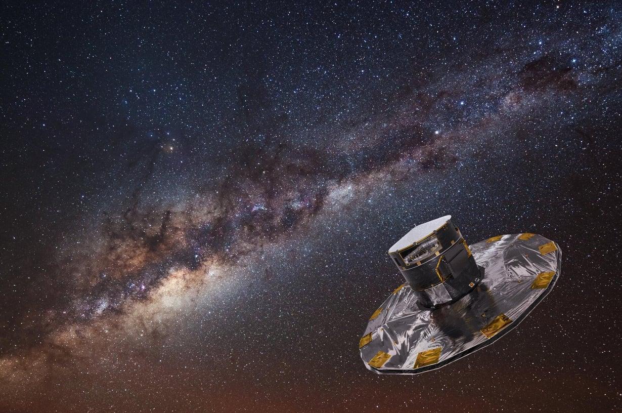 Gaia-observatorio on avaruudessa pisteessä, jossa se pysyyy paikoillaan painovoimakenttien ansiosta. Kuva: ESA