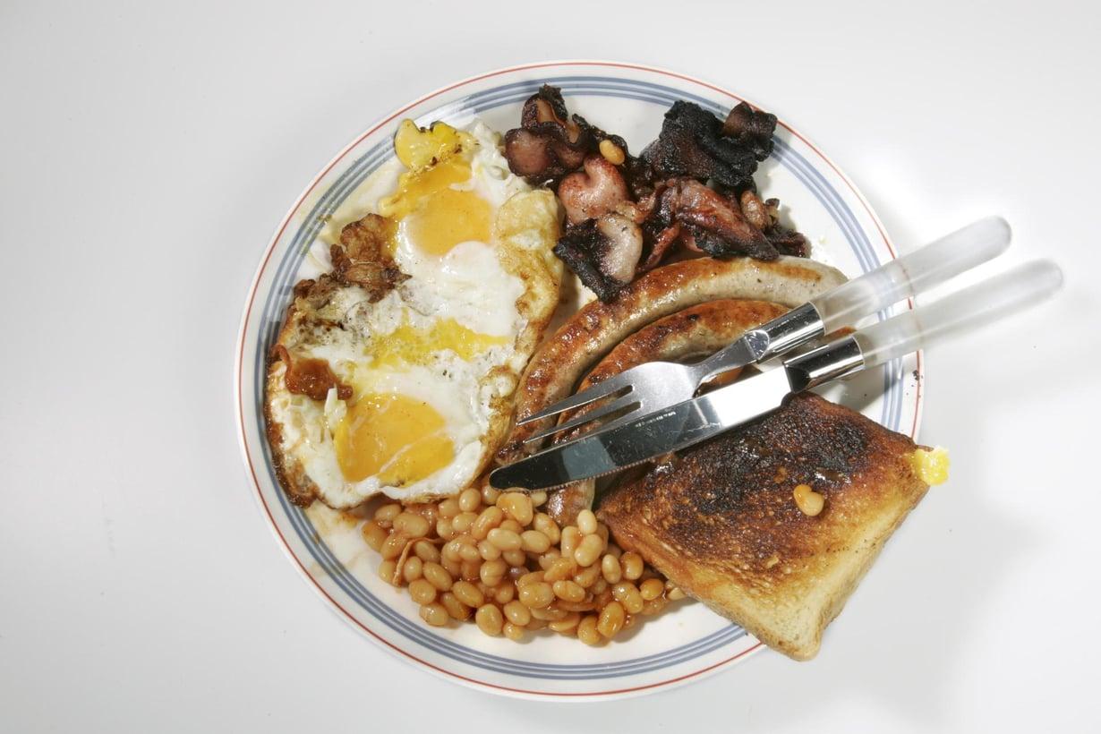 Rasvainen englantilainen aamiainen. Kuva: Tea Karvinen