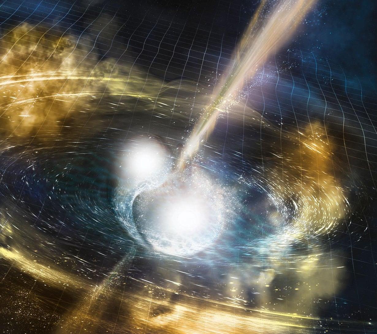 Taiteilijan näkemys neutronitähtien törmäyksestä. Kuva: NSF/LIGO/Sonoma State University/A. Simonnet
