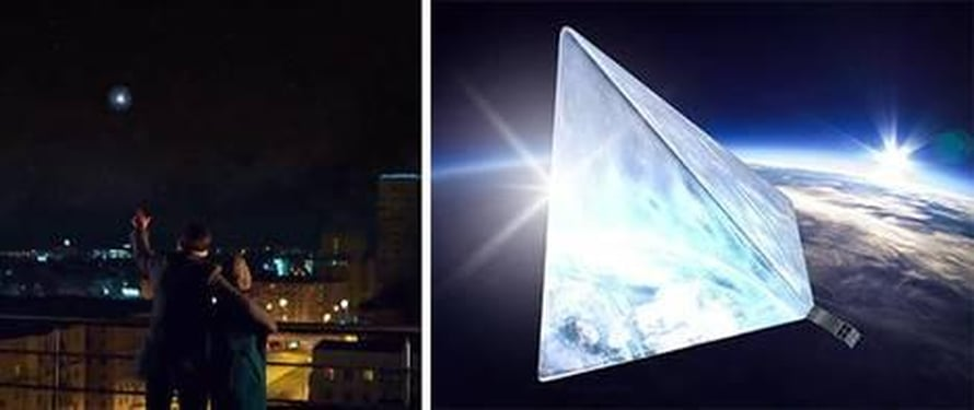 """Pyramidin muotoinen """"tähti"""" olisi yötaivaan kirkkain kohde, laskevat moskovalaiset insinöörit. Kuva: <span class=""""photographer"""">Mayak-hanke</span>"""