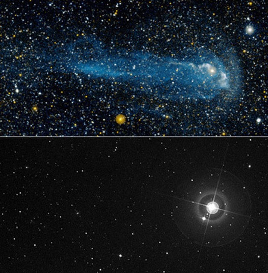 """Miran """"pyrstö"""" hohkaa ultraviolettivaloa (yllä). Näkyvän valon kuvassa sitä ei näy (alla). Kuva NASA/JPL-Caltech/POSS-II/DSS"""