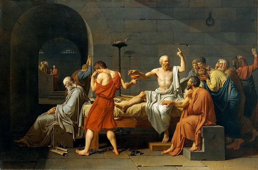 Sokrateen kuolema Jacques-Louis Davidin maalaamana. Sokrates tuomittiin kuolemaan ja hän joutui juomaan myrkkykatkosta tehdyn juoman. Myrkkykatkon koniini salpaa hengityslihakset, joten kuoleman syynä on tukehtuminen.
