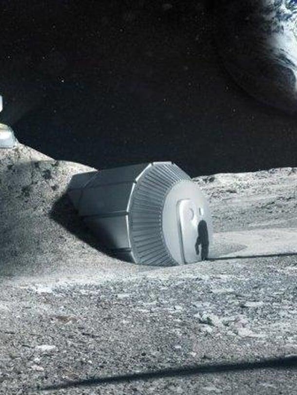 """Taiteilijan näkemys siitä, millainen Euroopan avaruusjärjestön tukikohta Kuussa voisi olla. Kuva: <span class=""""photographer"""">ESA</span>"""