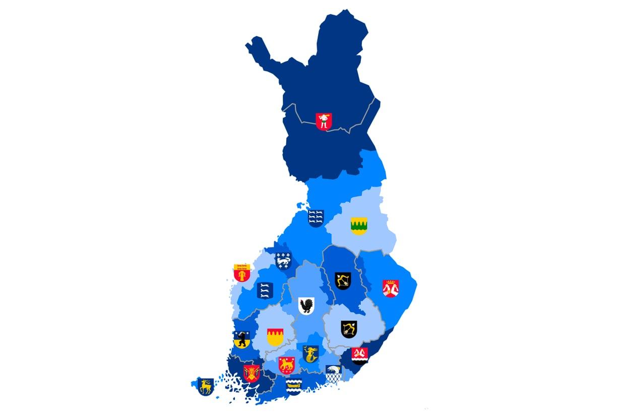 Tätä nykyä meillä on 19 maakuntaa ja niissä 313 kuntaa. Kuva: Wikimedia Commons