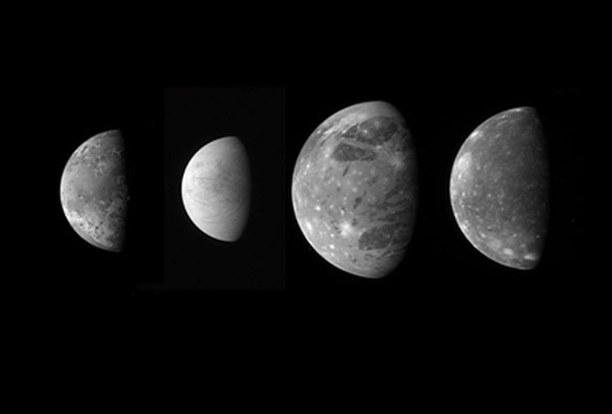 """New Horizons kuvasi myös Jupiterin suuret kuut - Ion, Europan, Ganymeden ja Calliston - enätysmäisen tarkasti. Kuva: <span class=""""photographer"""">NASA/Johns Hopkins University Applied Physics Laboratory/Southwest Research Institute</span>"""