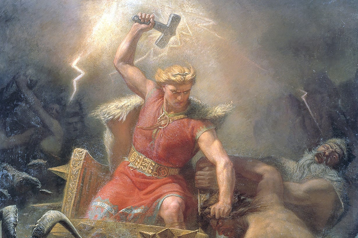 Torstai kuuluu germaanien ukkosherralle Torille. Kuva: Mårtem Eskil Winge, Tor's Fight with the Giants/Wikimeida Commons